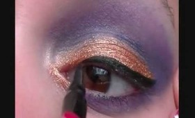 glam eyes cut crease.gold and purple look