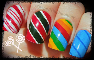 12 days of Christmas: Candycanes: http://www.thepolishedmommy.com/2012/12/mani-canes.html
