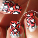 Pink Leopard Animal Print Nail Art with gems