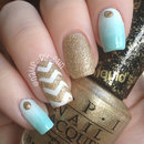 Mint and Gold Gradient and Chevron Nails