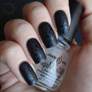 Pattern stamped gloss over matte nails gives a subtle and eye-catching finish!