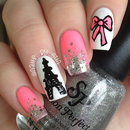 Girly Eiffel Tower Nails