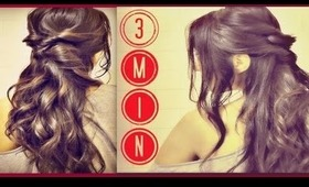 ★3 MIN EASY & QUICK EVERYDAY HAIRSTYLES, HALF-UP with curls PONYTAIL UPDO  FOR LONG HAIR TUTORIAL