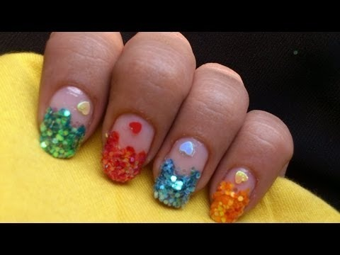 Sequin Nail Art Colorful How To Do Polish Designs At Home Step By Tutorial Video
