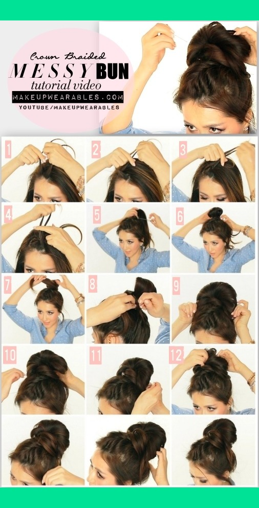 hair tutorial video. See how to do this cute, messy bun on your hair ...