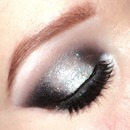 Black and silver glitter smokey eyes