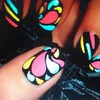 Nails with multi colors in it <3