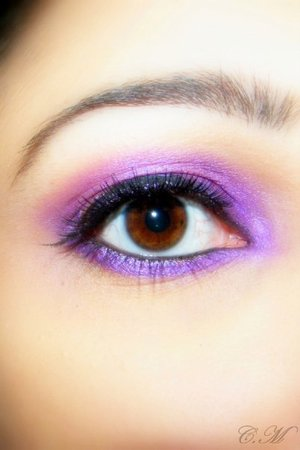 Urban decay eyeshadow primer, 42 Color Double Stack Shimmer Shadow & Blush (Coastal scents) I used purple ofcourse. Black eyeliner and fake lashes. black mascara