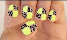 Leopard Checkered Nails!!!