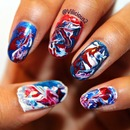 The nail art I wore for the 4th of July  1
