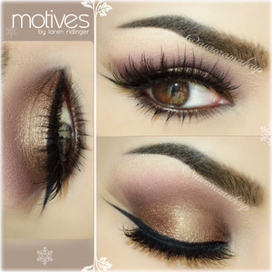 Instagram @auroramakeup, the details are:  Eye Makeup Products are @motivescosmetics Productos de http://www.motivescosmetics.com    Eye Shadow Base by Motives Prebase de Sombras de Motives  Luxe Creme Eye Shadow in BROWN SUGAR ( as cream base on mobile eyelid & below lower lashes) Sombra en Crema color azucar oscura ...de verdad que si parece se llama BROWN SUGAR (como base en crema nacarada en el  parpado movil y debajo de las pestañas inferiores)  Pressed Eye Shadow in VANILLA ( highlighting brow bone & inner corner) Sombra de ojos blanca hueso llamada VANILLA ( iluminando  el hueso de la ceja y el lagrimal)  Pressed Eye Shadow in VINO ( marking socket line & as transition color on the crease ) Sombra de ojos vino mate llamada VINO ( marcando el globo ocular y difuminandolo como color de transition en el pliegue)  Pressed Eye Shadow in HAZELNUT ( outer corners of the mobile eyelid & below lower lashes)  Sombra de ojos rojo oscuro nacarada llamada HAZELNUT (en las esquinas del parpado movil y debajo de las pestañas inferiores sellando la sombra en crema)   Pressed Eye Shadow in PINK GOLD ( center of the mobile eyelid ) Sombra de ojos dorada son tonos rosa ( centro del parpado movil)   Pressed Eye Shadow in CHOCOLIGHT ( drawing a smooth wing in the outer corner between eyeliner & VINO shadow ) Sombra de ojos cafe medio mate llamada CHOCOLIGHT ( para dibujar un ala muy difusa entre la sombra vino y el delineador negro)   Gel Eye Liner in LITTLE BLACK DRESS ( lining top lashes ) Gel delineador negro LITTLE BLACK DRESS ( delineando las pestañas superiores )   Khol Eyeliner in COFFEE ( lining waterline) Delineador cafe oscuro COFFEE ( delineando la linea de agua )   Pressed Eye Shadow in HOT CHOCOLATE ( to intensify the lower lashes) Sombra de ojos cafe oscuro mate llamada HOT CHOCOLATE ( para intensificar la oscuridad debajo de las  pestañas inferiores )  Mineral Volumizing & Lengthening mascara in BLACK ( top & lower lashes ) Mascara de pestañas negra Voluminizante y Alargadora ( en pestañas superiores e inferiores )   LASHES are NOIR FAIRY by @houseoflashes Pestañas NOIR FAIRY de  http://www.houseoflashes.com