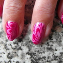 Pink & Pink Water Marble Nails ( i water marbled my freinds nails)