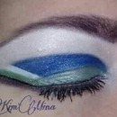 Blue and green graphic cut crease