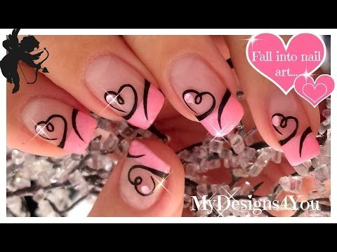 easy valentine's day nail art  cute heart french tip