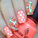 Summer Floral and Polka Dot Nails