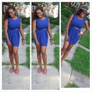 blue forever 21 dress and red flats from Macy's