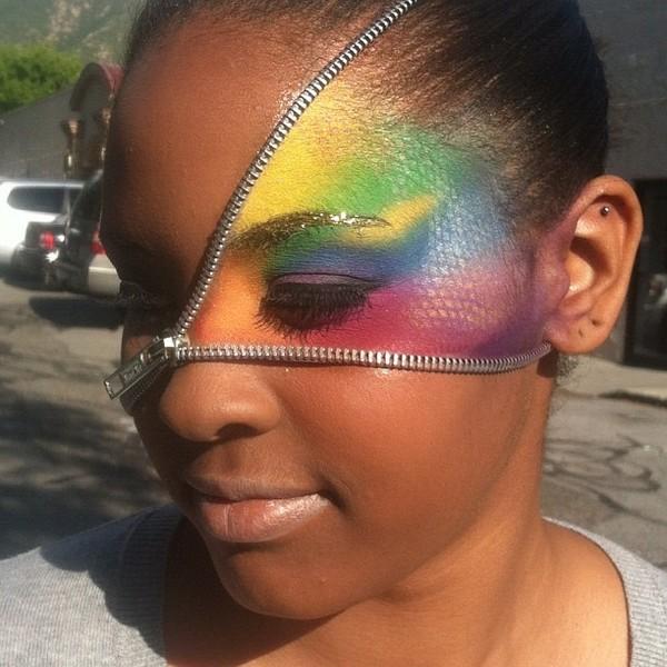 rainbow zipper face with gold glitter eyebrow erin ds