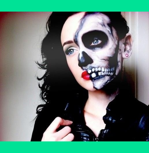 For the skull side I used: White face paint, white eye shadow, black ...