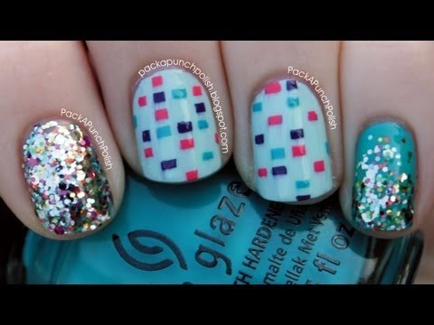 Disco Squares And Glitter Nail Art Tutorial Packapunchpolish Video