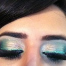 green and gold special occassion makeup