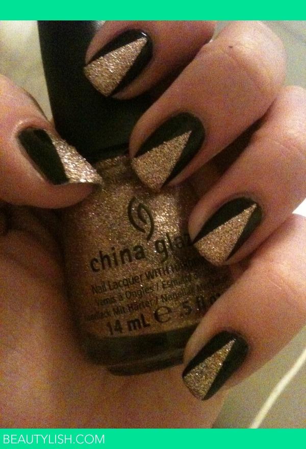 Nail art with gold and black : Black gold nail art paige h s photo beautylish