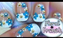 Classy French Manicure with a Floral Twist Nail Art Tutorial - Requested