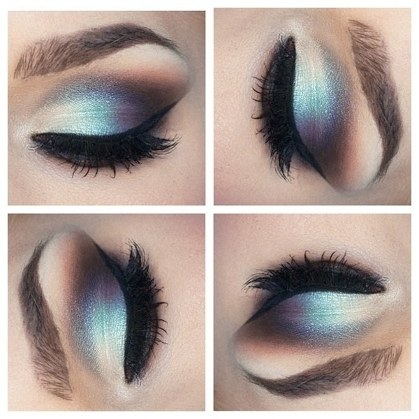 Light blue and silver eye makeup