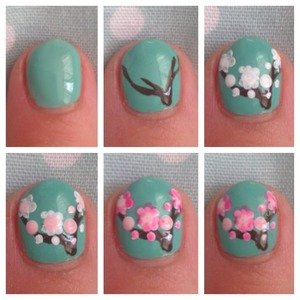 As promised, here is a step by step Of the blossom nail art!