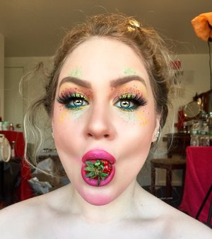 One of my absolute favorites by Milk1422 yet! This is my recreation of his strawberry chick face chart (check him out on Instagram) with the minor fault of I ate 10 strawberries LOL.  Be sure to check out my blog post for PRODUCT details as well as a description for how to recreate this makeup look (theatrical of course)! http://theyeballqueen.blogspot.com/2016/05/milk1422-instagram-inspired-theatrical.html
