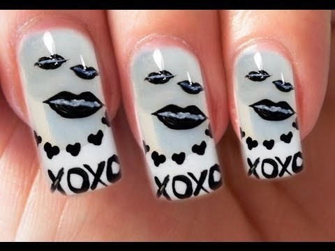 Valentines Day Special 510 Kisses Xoxo Nail Art Tutorial Black