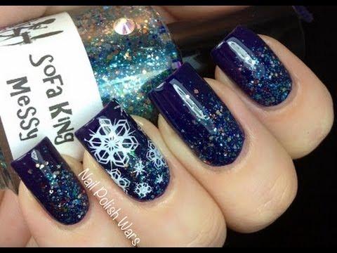 Easy Snow Nail Art Snowflake Nails Stamp Konad Winter Snow Nail