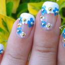 Classy French Manicure with a Floral Twist Nail Art