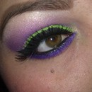 Green Glitter W/Purple