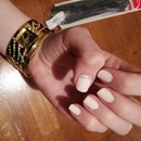 Light pink nails with diamonties!