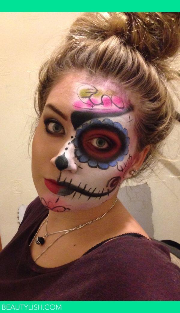 Half Sugar Skull Makeup Tutorial Half sugar skull make up