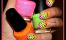 Easy Neon with Polka Dots Nail Design