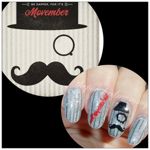 #nailartnov -movember. For more info on what Movember is visit my blog>>> http://www.thepolishedmommy.com/2013/11/be-dapper-for-its-movember.html