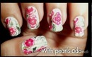 Pink Flowers on Green Striped Background Nail Art