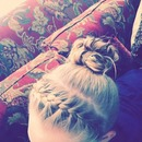 French braid into a messy bun!