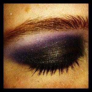 Black eyeshadow, Purple eyeshadow, black gel eyeliner, black mascara