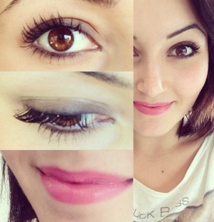 A soft smokey for every day with pink, romantic lips :)