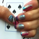 pink & blue sponged nail