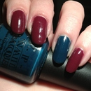 China Glaze Purr-fect Plum & OPI Ski Teal We Drop