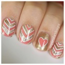 Chevron and Heart Nails
