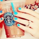 StarBucks & Sea Blue nails