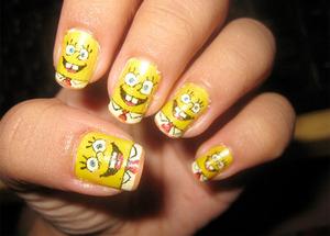 Sponge bob nails :D Awwsooome