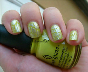 China Glaze Electric Pineapple and Sally Hansen Crackle OverCoat Fractured Foil