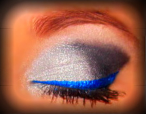 Silver Smoky Eye With Electric Blue Liner