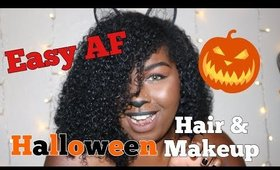 GRWM Halloween Makeup and Curly Hair | Halloween Black Cat 😻Makeup tutorial