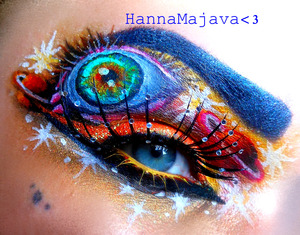 used BSC eyeshadows & neon glitters & pigments :)